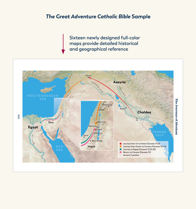 One of the sixteen newly designed, color maps that are seen in the Great Adventure Catholic Bible from Jeff Cavins and Ascension.