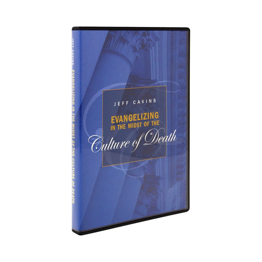 The cd case for Evangelizing in the Midst of The Culture of Death by Jeff Cavins and Ascension. The blue cover features pillars on an old church or historic building.