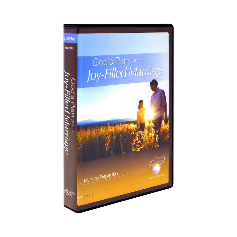 The DVD case for God's Plan for a Joy-Filled Marriage a 5 DVD Set by Damen Owens and Ascension. This blue, white, and gold dvd cover features a man and a woman with the sun shining brightly behind them.