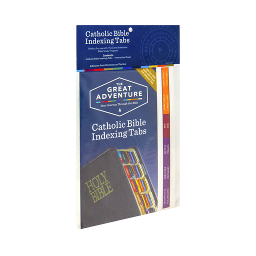 The Great Adventure Catholic Bible Indexing Tabs by Ascension. The cover of the package features the Holy Bible with the tabs visible along with the Great Adventure logo.