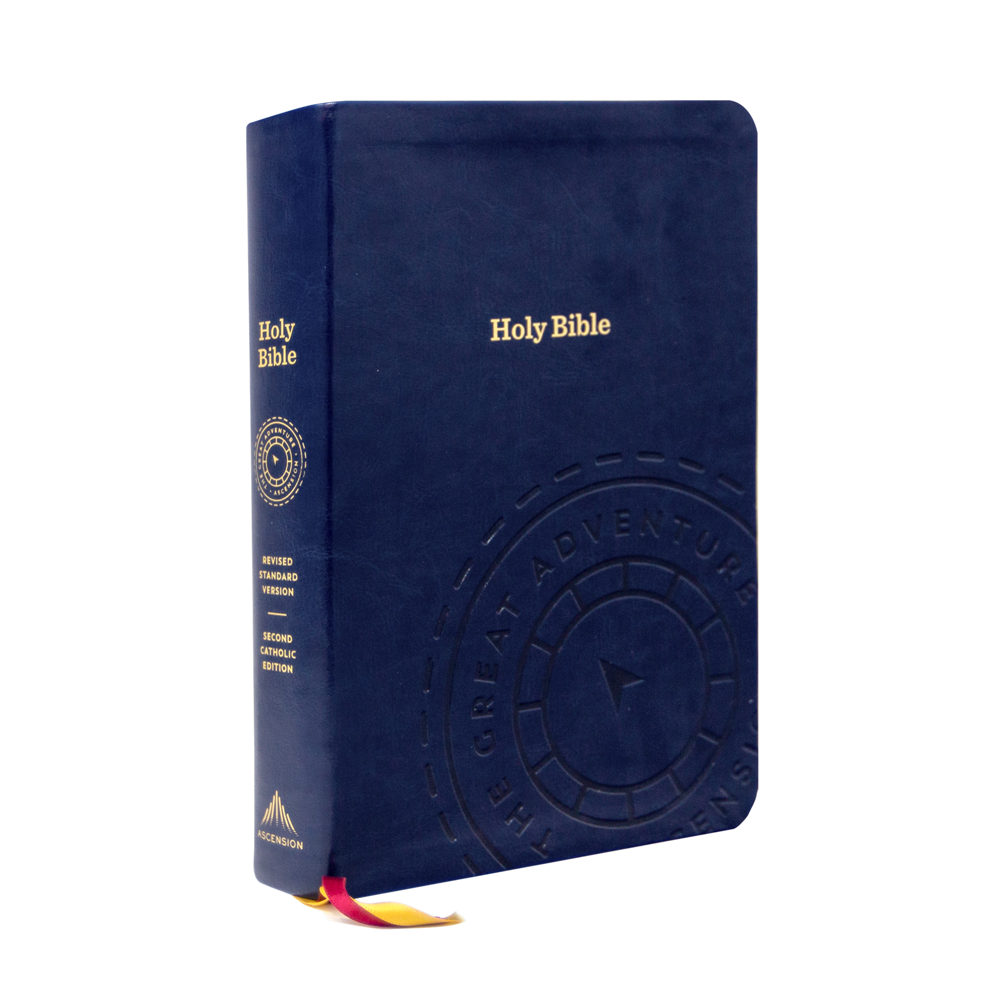 "The Great Adventure Catholic Bible from Jeff Cavins and Ascension with the blue leather cover and gold words ""Holy Bible"" engraved on it"