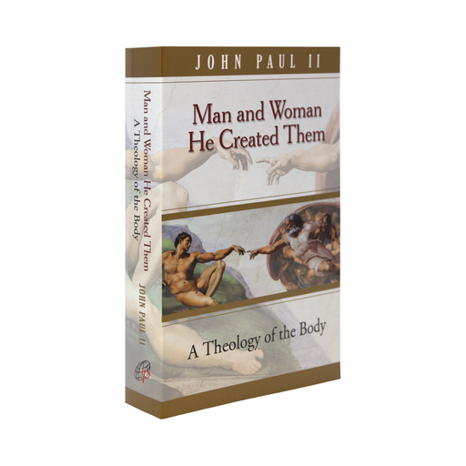 The book Man and Woman He Created Them: A Theology of the Body   Man and Woman He Created Them: A Theology of the Body by Pope John Paul II. The cover features the painting Creation of Adam by Michelangelo
