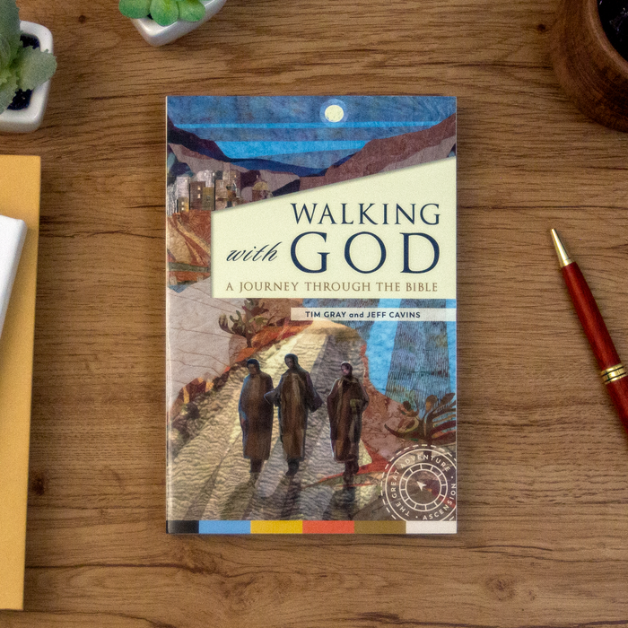 The Catholic book, Walking with God: A Journey through the Bible by Tim Gray and Jeff Cavins and published by Ascension, sitting on a wooden table. The cover depicts three people walking in the moonlight.