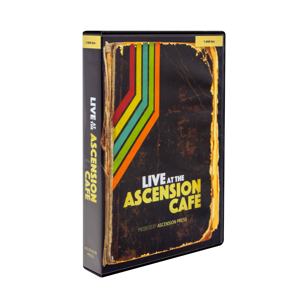 The front cover of the DVD case for Live at the Ascension Cafe at the 2015 World Meeting of Families: DVD set by Ascension. The cover features a brown, red, yellow, blue, green, and orange design.