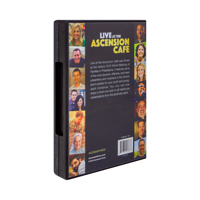 The back cover of the DVD case for Live at the Ascension Cafe at the 2015 World Meeting of Families: DVD set by Ascension. The back cover features photos of speakers such as Jackie Angel, Sister Miriam James Heidland SOLT,  Fr. Josh Johnson, Megan Mastroianni, and more.