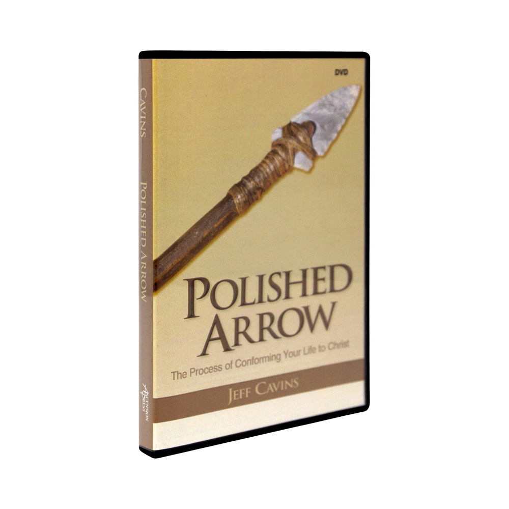 The tan dvd case for Polished Arrow: The Process of Conforming Your Life to Christ, a DVD by Jeff Cavins and Ascension. The cover features a an image of an arrow.