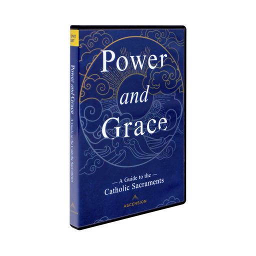 The blue case for the dvd set, Power and Grace: A Guide to the Catholic Sacraments by Ascension. The cover features a circular design of the sun, water, and wind.