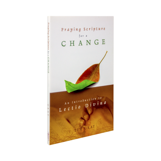The Catholic book, Praying Scripture for a Change: An Introduction to Lectio Divina by Tim Gray and published by Ascension. The cover features a leaf that is half dead and brown and half alive and green.