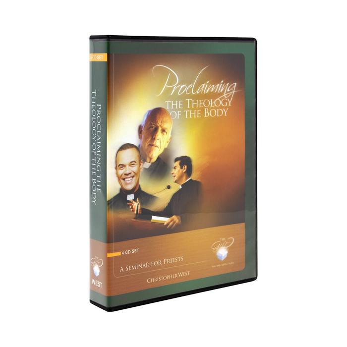 The cd case for Proclaiming the Theology of the Body, A Seminar for Priests by Christopher West and Ascension. The cover features three happy priests.