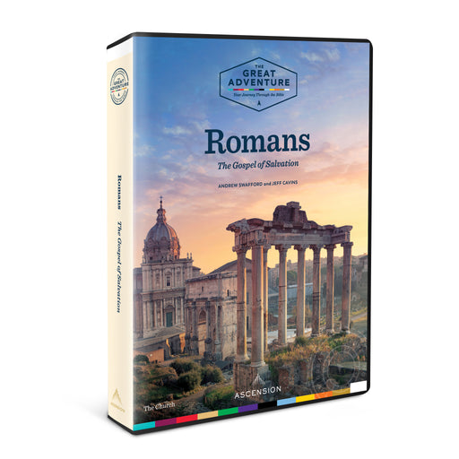 The DVD case for the Bible Study, Romans: The Gospel of Salvation by Dr. Andrew Swafford and Jeff Cavins, published by Ascension. The DVD case is at an angle, and the cover features Rome at sunset.