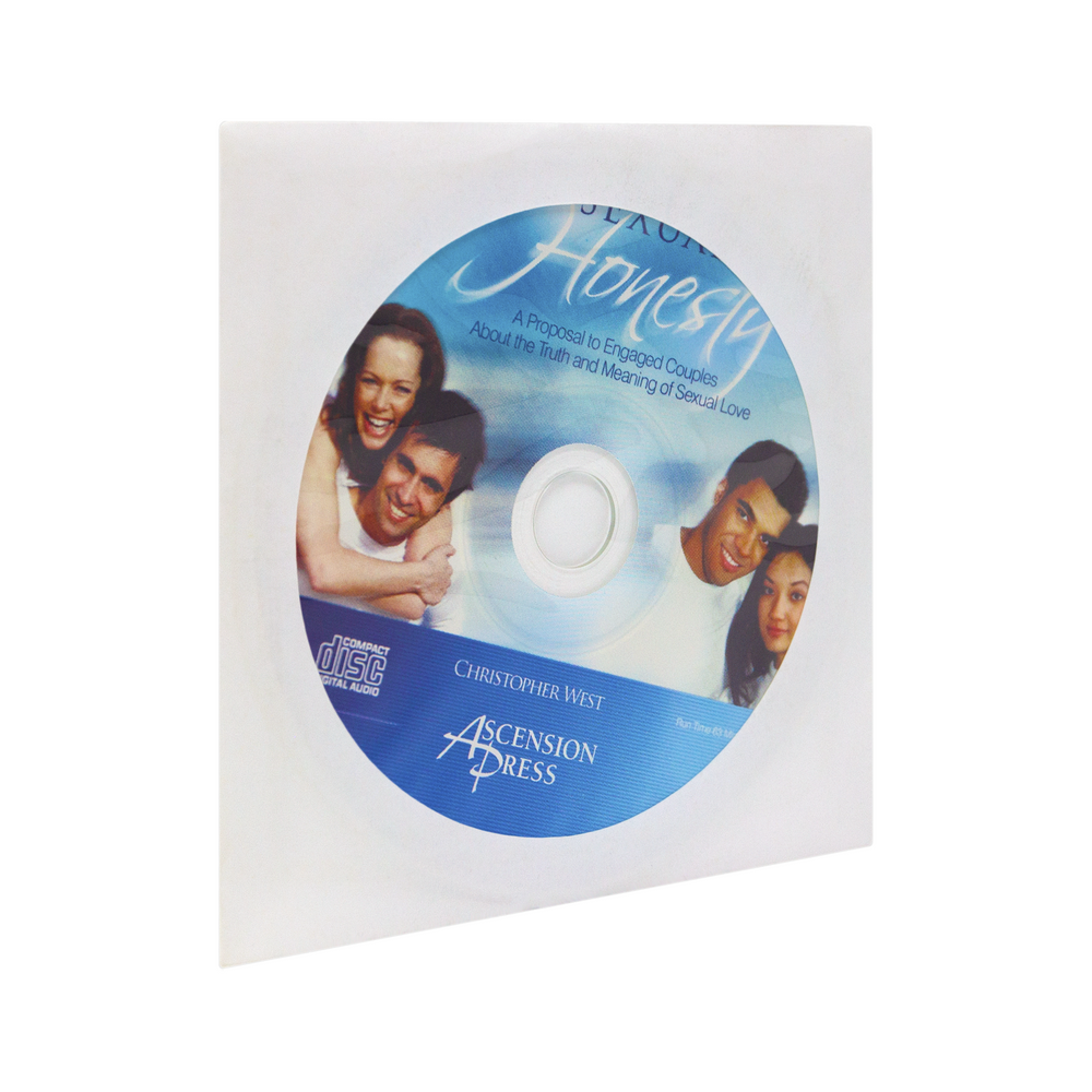 The cd for Sexual Honesty: A Proposal to Engaged Couples About the Truth and Meaning of Sexual Love by Christopher West, the Theology of the Body Institute, and Ascension. The blue and white cd design features beautiful cursive writing and two happy couples smiling.