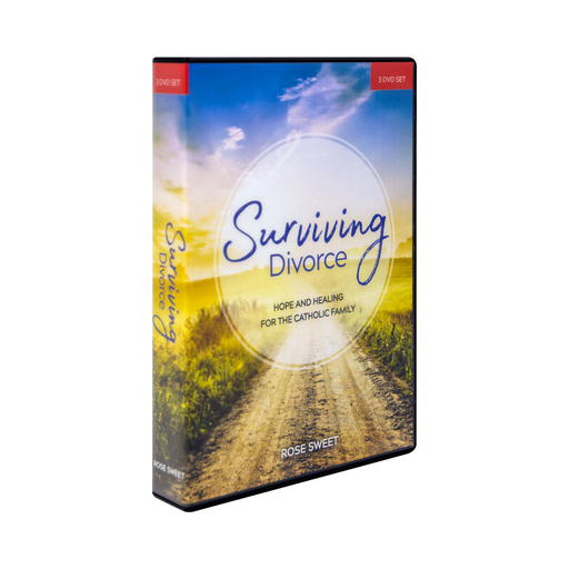 The DVD case for Surviving Divorce: Hope and Healing for the Catholic Family, DVD Set by Ascension. The front cover features a bright sunny road with a blue sky ahead.