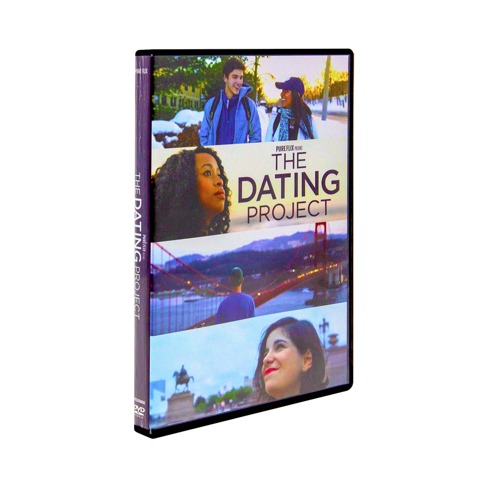 The dvd case for The Dating Project by Pureflix, the cover features a happy couple in one panel and other young adult people in other panels staring out into the distance.