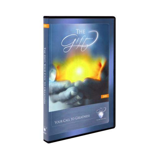 The case for The Gift: Your Call to Greatness DVD by Ascension. The blue and gold cover features someone holding a bright light in the palms of their hands.