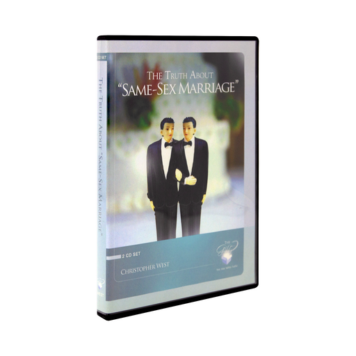 "The cd case for The Truth About ""Same-Sex Marriage"" Protecting the True Meaning of Marriage by Christopher West and Ascension. The cover features a wedding cake topper of two men in tuxes."