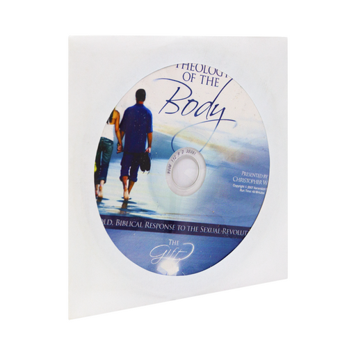 The cd, Theology of the Body: A Bold, Biblical Response to the Sexual Revolution by Christopher West and Ascension. The blue and white cd design features cursive writing and a happy couple holding hands and walking out into the distance.