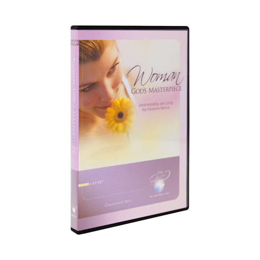 The cd set for Woman God's Masterpiece, Understanding and Living the Feminine Genius by Christopher West and Ascension. The soft pink and lavender cover features a woman smelling the sweet fragrance of a yellow flower.