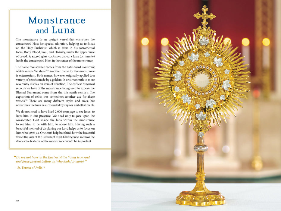 A sample page featuring the monstrance and the luna from catholic book, The Sacred That Surrounds Us: How Everything in a Catholic Church Points to Heaven by Andrea Zachman and Ascension