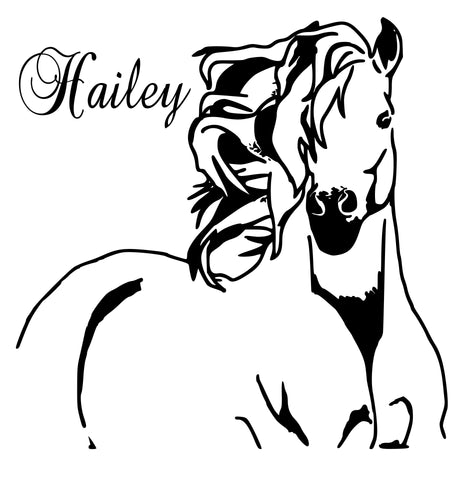 "Horse Personalized Wall Decal, Mustang Decal, Girls room, Teen room, Horse Decal, 27""x 25"""
