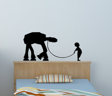 Boys Room Star Wars Robot AT AT Wall Decal Childs Bedroom Droid Playroom Nursery Decoration