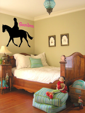 Cool personalized horse rider, removable vinyl wall art decal