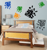 Boys bedroom paintball splat decal, teen room decal, college dorm room wall decal, girls bedroom decal, childs room decor, 12 decals, 933-KM