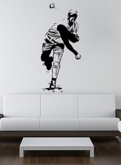Baseball decal-Baseball sticker-Baseball pitcher-Vinyl wall decal-22 X 48 inches