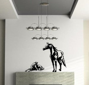 Horse decal-Vinyl wall decal-Horse sticker-Foal-Mare-39 X 34 inches