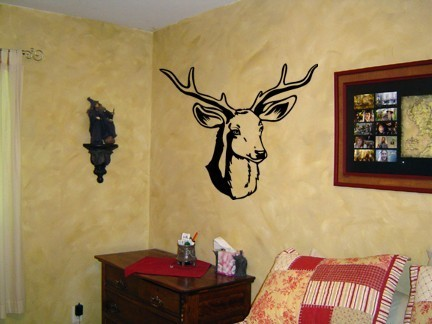 Deer Wall Decal, Hunters Wall Decor, Man Cave, Teen Room, Antlers, Forest Animal, 24 X 28 inches