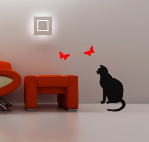 Cat watching Butterflies -- Vinyl wall art decal