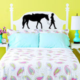 Horse decal-Kids room decor-Girls room decor-Horse and rider decal-Vinyl wall decal-28 X 13 inches