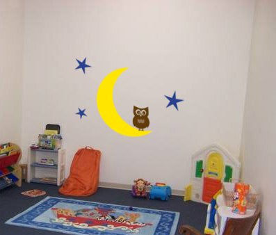 Nursery owl and moon decal-Childs room wall decor-Big 36 X 30 inch vinyl sticker