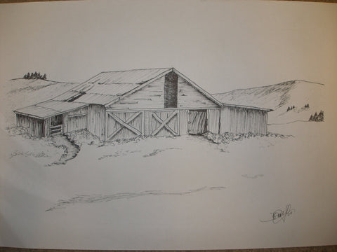 "Print, Pen and Ink Drawing, Yellowstone Barn 81/2"" X 11"""