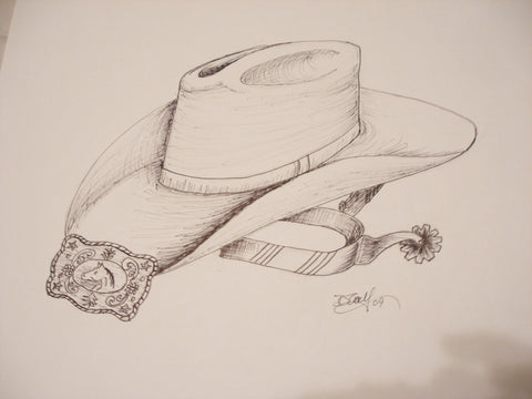 "Print of Pin and Ink Drawing of Cowboy hat and Accesories, 81/2"" x 11"""