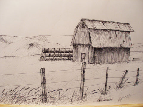 "Print Pen and Ink Drawing of Oregon Hay Barn, 81/2"" X 11"""