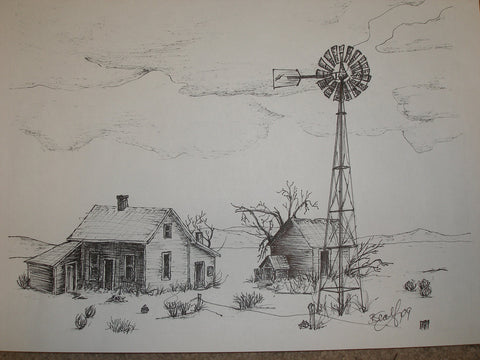 "Print, Pen and Ink Drawing,  The Homestead 81/2"" X 11"""