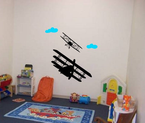 Airplane decal-biplane vinyl wall decal-triplane graphic-nursery bedroom decor-36 X 38 inches
