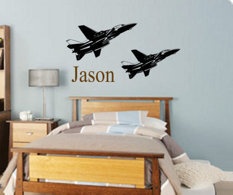 Jet fighter decal-Personalized jet fighter decal-Military decal-23 X 45 inch sticker