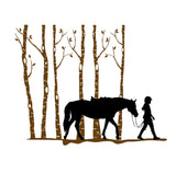 Horse-horse decal-horse and rider sticker-tree decal-vinyl wall decal 30 X 37 inches