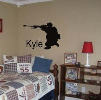 Soldier decal, Military sticker, Personalized, Vinyl wall decor, 21 X 28 inches