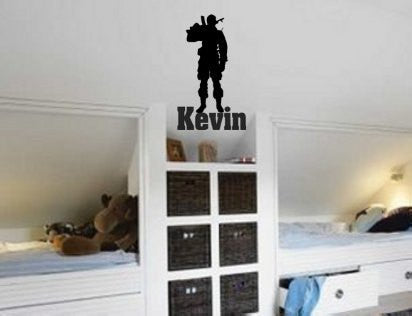 Soldier decal, Military sticker, Personalized, Vinyl wall decor, 20 X 33 inches