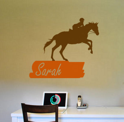 Horse decal-Horse and rider-Personalized decal-Wall decor-30 X 35 inches