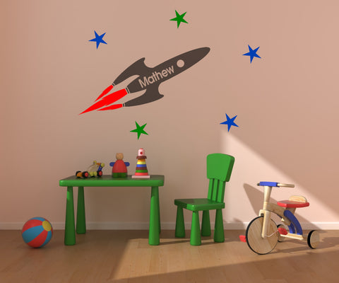 Rocket decal-Personalized decal-Kids room decor-Nursery decal-36 X 48 inches