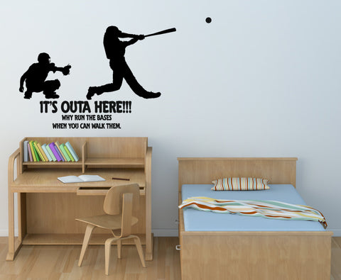 Baseball wall decal, sports quote sticker, wall words, boys room team sports decal, teen bedroom wall decal, Big 60 X 39 inches