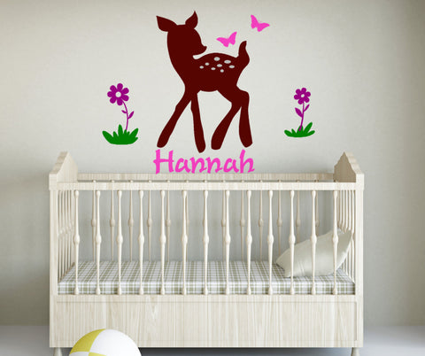 Kids room decor-Kids room decal-Wall sticker-Personalized decal-Baby deer with flowers and butterflies-42 X 32 inches