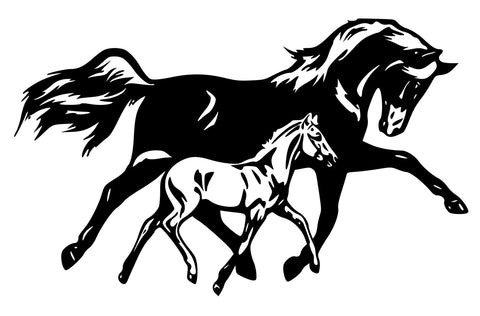 Horse- Mare and Foal wall decal, Horse sticker 36 inches x 22 inches.