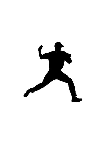 Baseball decal-Sports decal-Baseball sticker-Baseball decor-Baseball Player decal-Vinyl wall decal-8 X 8 inches-Black