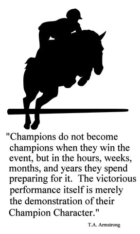 Horse-Champions English Horse Quote 2-Horse wall decal-Large 28 x 47 inches, 143-HQ