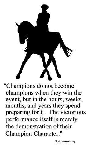 Horse-Champions English Horse Quote-Horse wall decal-Large 28 x 47 inches. 142-HQ
