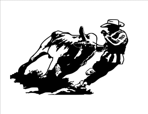 Horse-Rodeo bull fighter-wall decal, Rodeo sticker 36 inches x 25 inches. 823-HR